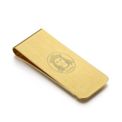 PB0015 BOBIJOO Jewelry Money clip Stainless Steel Brushed Gold Saint Sara