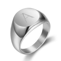 BA0263 BOBIJOO Jewelry El Anillo De Sellar El Hombre Iniciales Grabadas En Acero 316 Plata