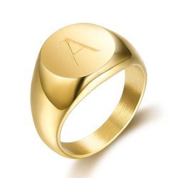 BA0264 BOBIJOO Jewelry Anello Uomo Iniziali Incise In Acciaio 316 Oro Oro