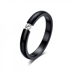 Solitaire Ring Black Ceramic