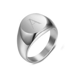 BAF0036 BOBIJOO Jewelry Anello Donna Iniziale Incisa In Acciaio 316 In Argento