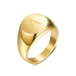 BAF0037 BOBIJOO Jewelry Signet Ring Woman Initial Engraved Steel 316 Golden Gold