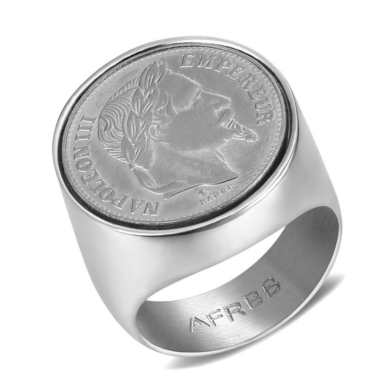 BA0314S BOBIJOO Jewelry El anillo de sellar de Acero inoxidable de Napoleón III, 20 Frs Redondo Hueco de Plata