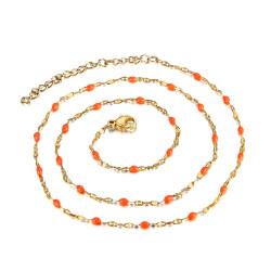 COF0032 BOBIJOO Jewelry Minimalistische halskette Edelstahl Gold-Email-Farbe nach Wahl 38cm