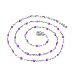COF0034S BOBIJOO Jewelry Halskette Minimalistischen Stahl-Email Farbe zur Auswahl 48cm