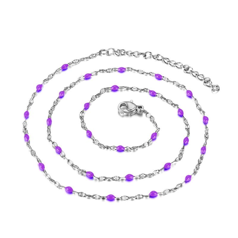 Collier Minimaliste Acier Email Couleur au Choix 48cm bobijoo