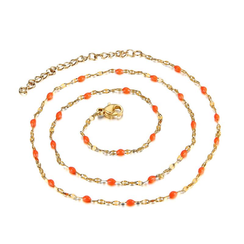 COF0033 BOBIJOO Jewelry Collar Minimalista de Acero de Oro de Correo electrónico Opción de Color de 43 cm
