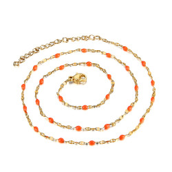 COF0034 BOBIJOO Jewelry Collare Minimalista in Acciaio Oro-Mail di Scelta di Colore 48cm