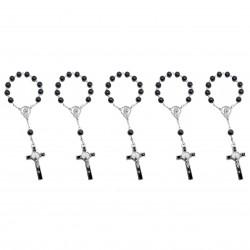 CP0047 BOBIJOO Jewelry Batch-x5 Mini-Rosenkranz Heilige Benedikt Hämatit, Kind, Baby
