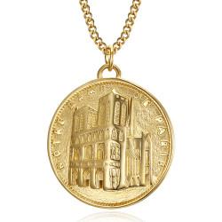 Pendentif Notre Dame de Paris Acier Or bobijoo