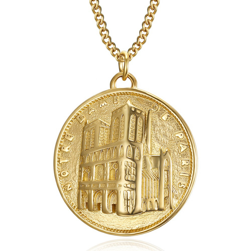 PE0190 BOBIJOO Jewelry Pendant Our Lady of Paris Steel Gold