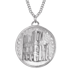Pendentif Notre Dame de Paris Acier Argent bobijoo