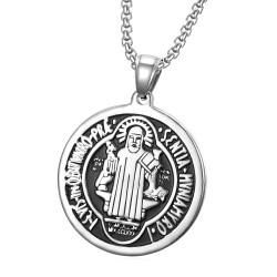 PE0105 BOBIJOO Jewelry Ciondolo Medaglia di San Benedetto, di Protezione in Acciaio