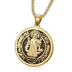 PE0173 BOBIJOO Jewelry Anhänger Medaille von St. Benedikt Stahl vergoldet + Kette