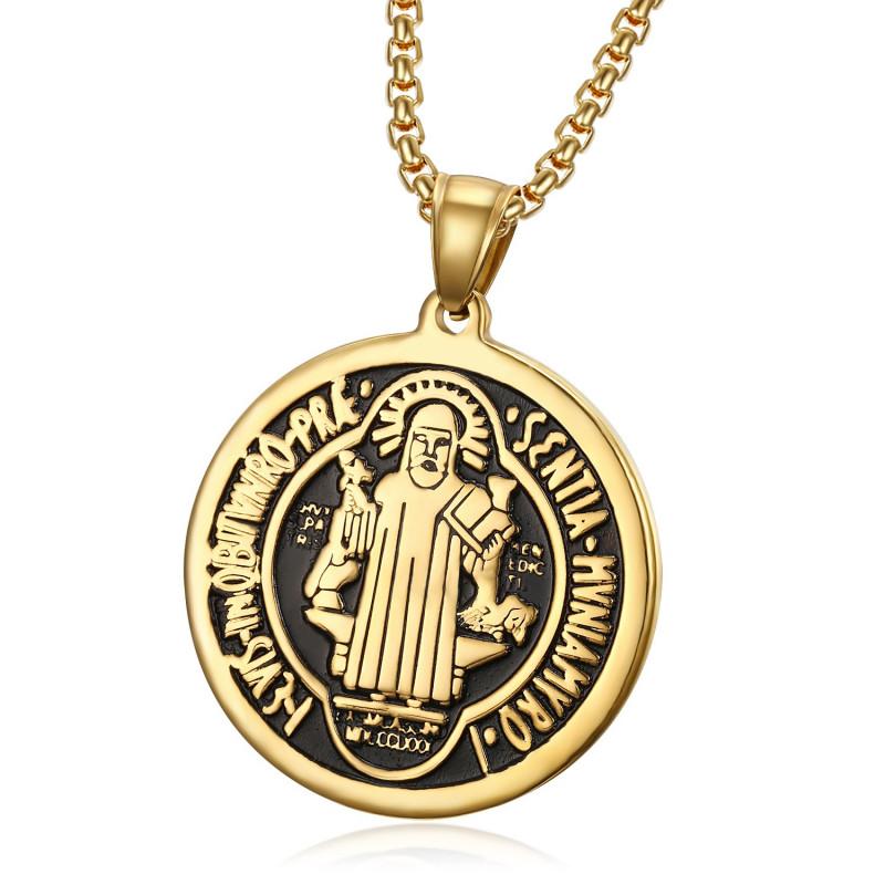 PE0173 BOBIJOO Jewelry Colgante Medalla de San Benito, chapado en Oro de Acero + Cadena