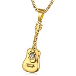 Discret Pendentif Guitare Voyageur Acier Or Diamant + Chaîne bobijoo
