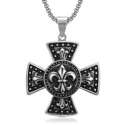 PE0080 BOBIJOO Jewelry Large Médaillon Pendentif Croix Pattée Templier Lys