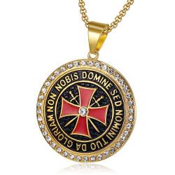 PE0149 BOBIJOO Jewelry Pendant Templar Steel Gold Rhinestone Cross Non Nobis + String