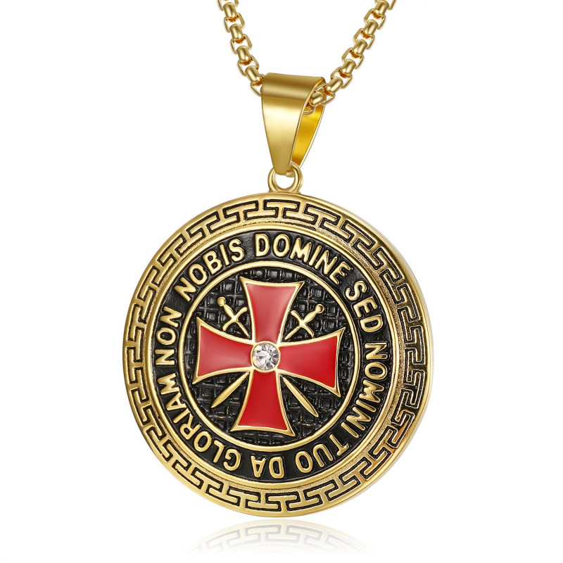PE0192 BOBIJOO Jewelry Ciondolo Templare Acciaio Croce D'Oro Non Nobis