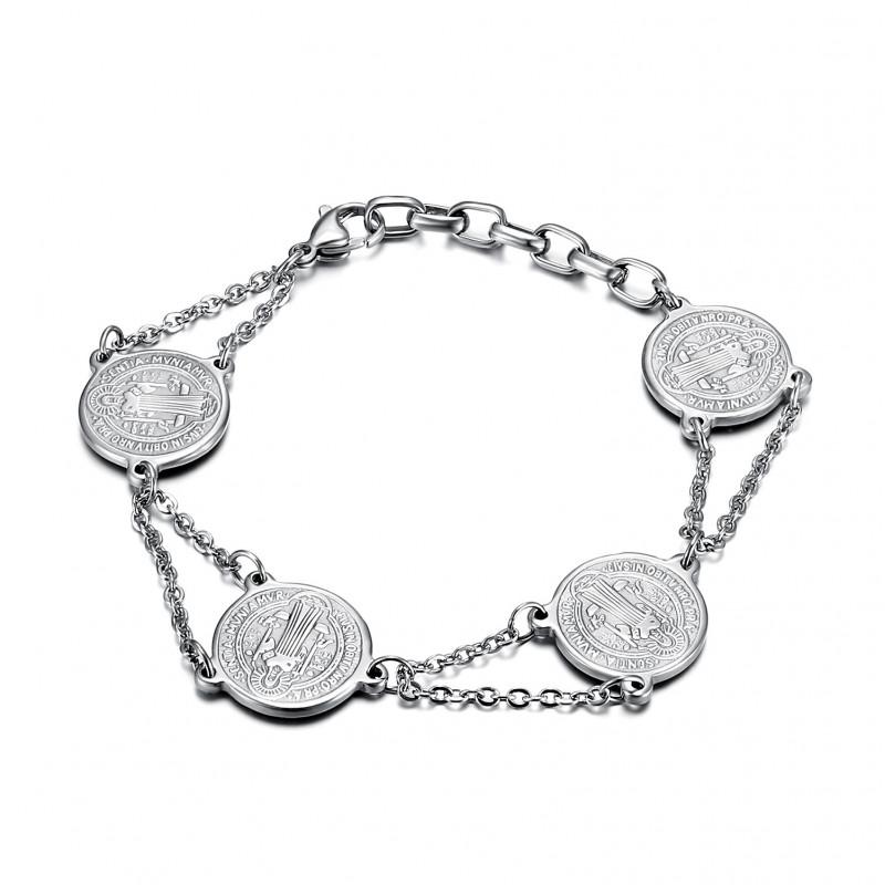 BR0273 BOBIJOO Jewelry Pulsera de Acero 316L de San Benito de Protección