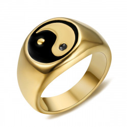 Ring Signet ring Man Woman Yin and Yang Steel Gold