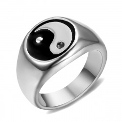 BA0319 BOBIJOO Jewelry Ring Signet ring Man Woman Yin and Yang stainless Steel Silver