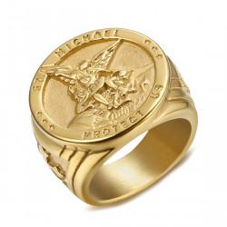 BA0320 BOBIJOO Jewelry Anello Anello Uomo La Protezione Di San Michele-Placcato