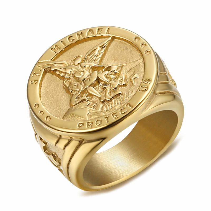 BA0320 BOBIJOO Jewelry Ring Signet Ring Man Protection Saint Michael-Plated