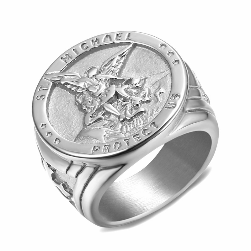 BA0321 BOBIJOO Jewelry Ring Signet Ring Man Protection Saint Michael Silver
