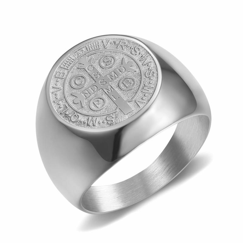 BA0323 BOBIJOO Jewelry Anello Anello Uomo Con Medaglia Di San Benedetto In Argento