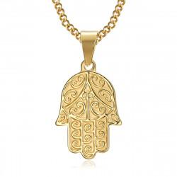 PEF0055 BOBIJOO Jewelry Collar mano de fatma Acero inoxidable Oro con cadena 55cm