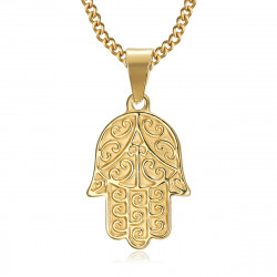 PEF0055 BOBIJOO Jewelry Mano di fatma collana in acciaio inossidabile oro con catena 55 cm