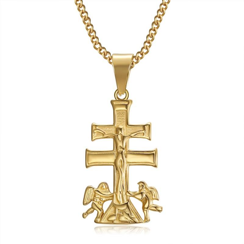 Pendentif Croix de Caravaca de la Cruz 32mm acier Or bobijoo