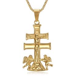 PE0194 BOBIJOO Jewelry Colgante Cruz de Caravaca de la Cruz, de 44 mm de acero de Oro