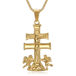 PE0194 BOBIJOO Jewelry Pendant Cross of Caravaca de la Cruz 44mm steel Gold