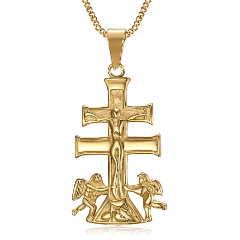 PE0194 BOBIJOO Jewelry Anhänger Kreuz von Caravaca de la Cruz 44mm stahl Gold