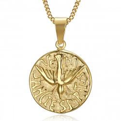 PE0195 BOBIJOO Jewelry Collar Colgante Veni Sancte Spiritus Pentecostés De Acero De Oro