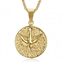 PE0195 BOBIJOO Jewelry Pendant Necklace Veni Sancte Spiritus Pentecost Steel Gold