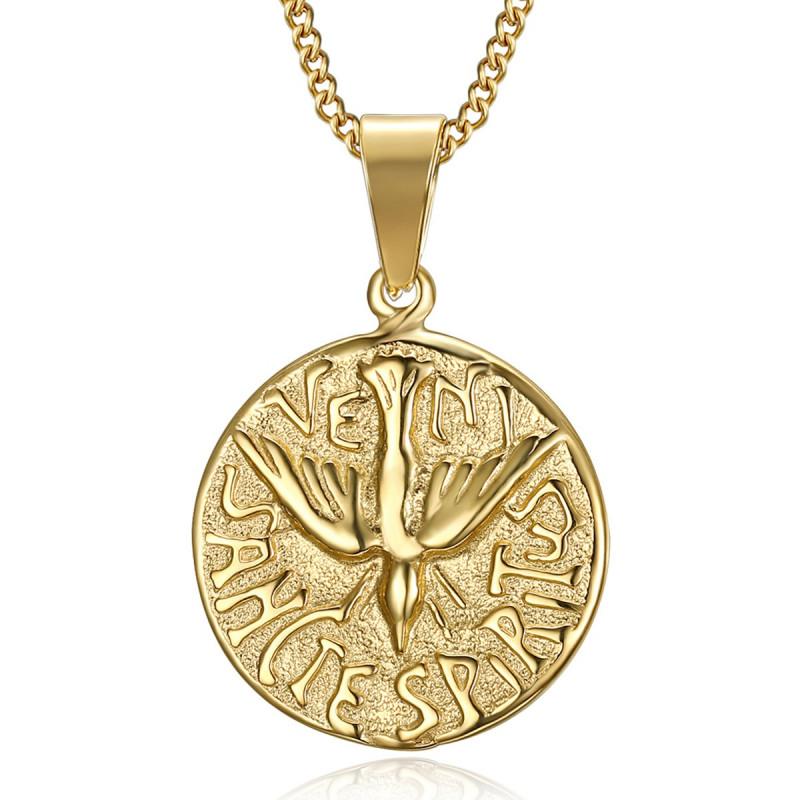 PE0195 BOBIJOO Jewelry Anhänger Halskette Veni Sancte Spiritus Pfingsten Stahl Gold
