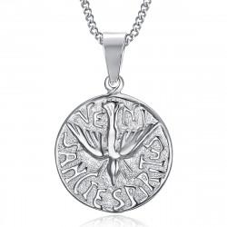 PE0196 BOBIJOO Jewelry Pendant Necklace Veni Sancte Spiritus Pentecost Steel