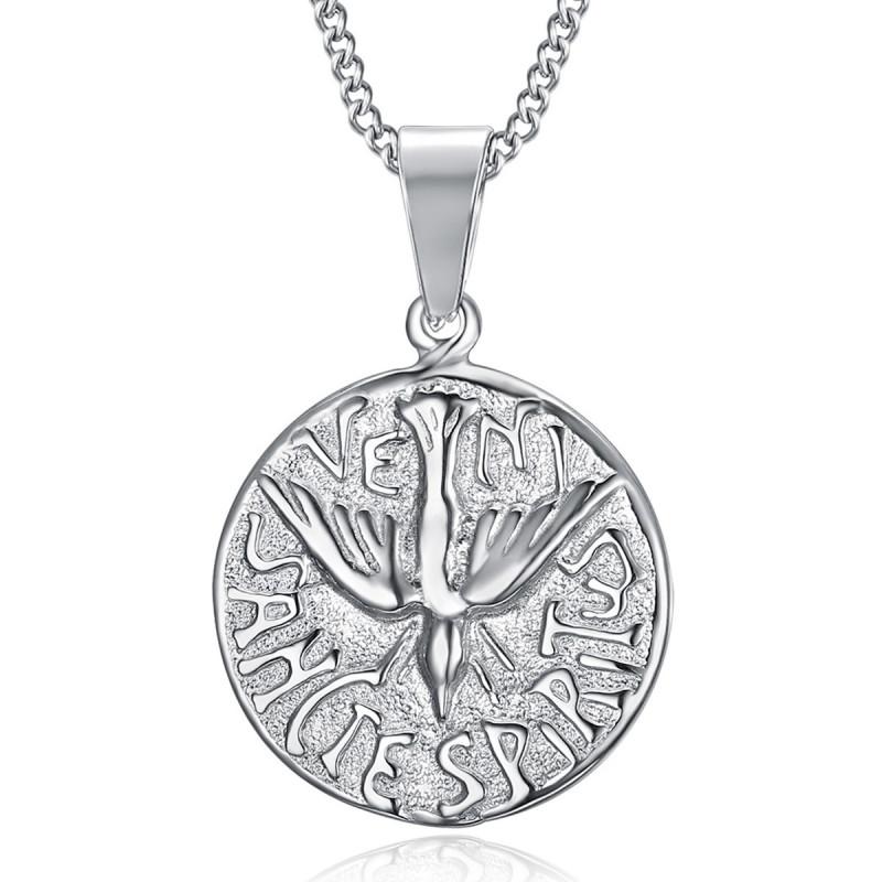 PE0196 BOBIJOO Jewelry Collana Con Pendente A Veni Sancte Spiritus Pentecoste Acciaio
