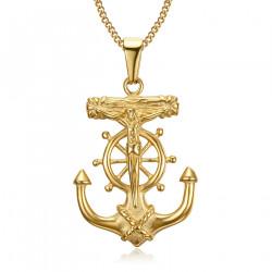 Pendant Necklace Anchor Jesus Cross Christ Traveller Steel Gold