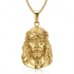 PE0202 BOBIJOO Jewelry Ciondolo Testa di Gesù Cristo Viaggiatore Acciaio Oro