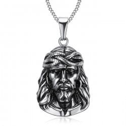 PE0203 BOBIJOO Jewelry Pendant Head of Jesus Christ Traveller Steel