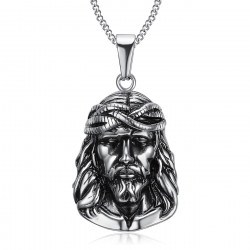 PE0203 BOBIJOO Jewelry Pendentif Tête de Christ Jésus Voyageur Acier
