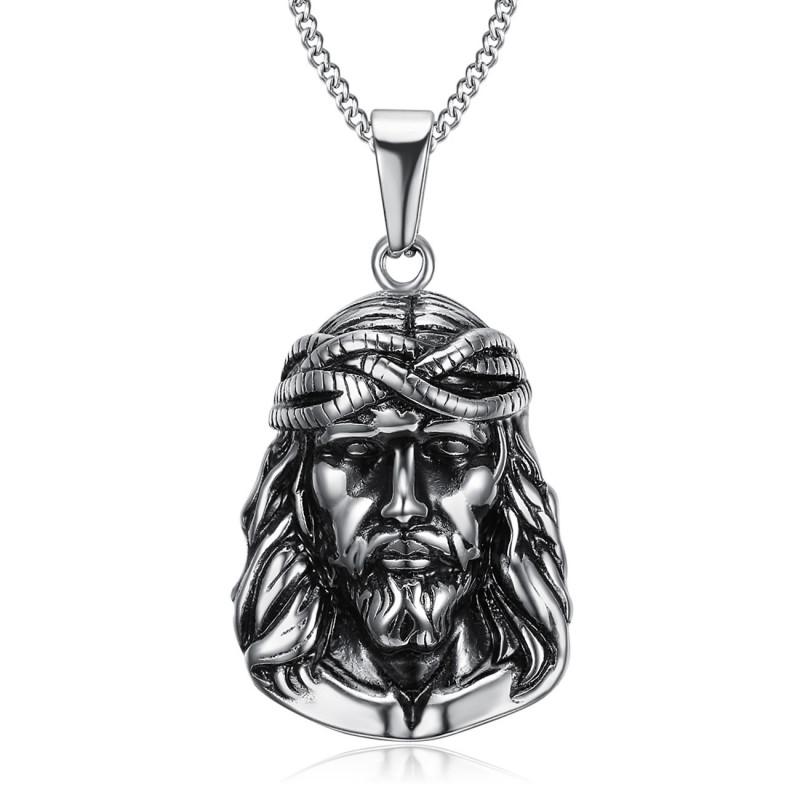 PE0203 BOBIJOO Jewelry Ciondolo Testa di Gesù Cristo Viaggiatore in Acciaio