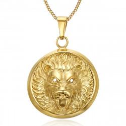 PE0204 BOBIJOO Jewelry La imposición de Colgante Cabeza de León de Sol en 3D de Acero de Oro
