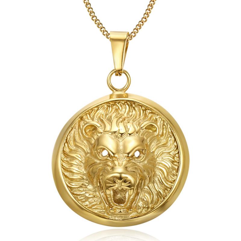 Imposant Pendentif Tête de Lion 3D Soleil Acier Or bobijoo