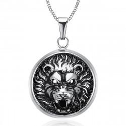 Imposant Pendentif Tête de Lion 3D Soleil Acier bobijoo