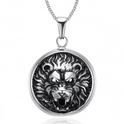 PE0205 BOBIJOO Jewelry Imposing Pendant Lion Head 3D Sun Steel